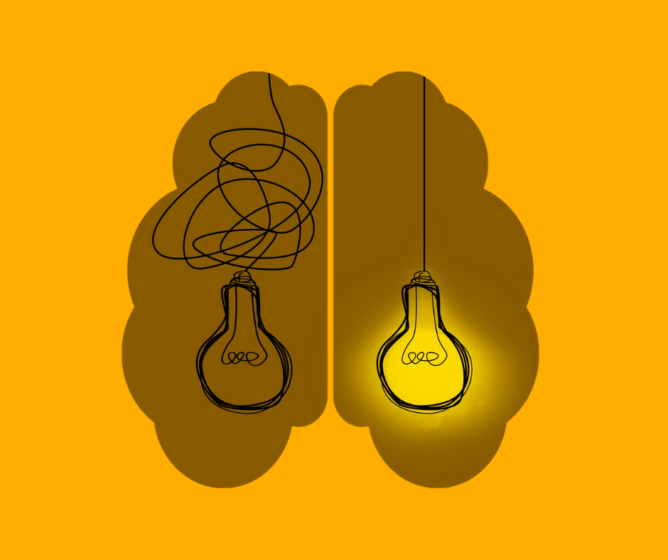 A brain with a buld off on the left and a bulb on on the right